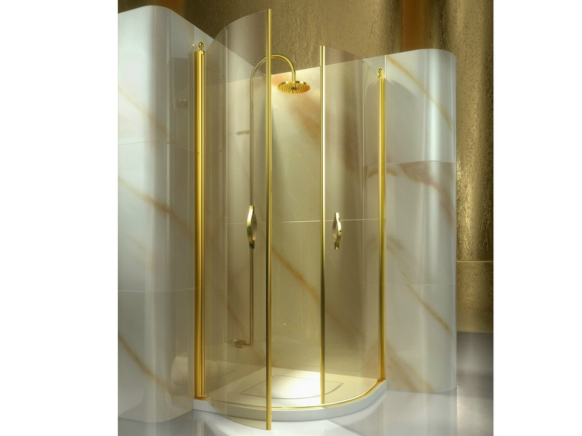 Corner semicircular custom tempered glass shower cabin GOLD AT by VISMARAVETRO