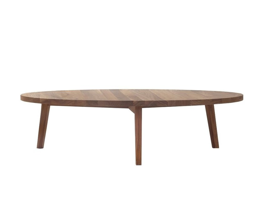 Low round wooden coffee table GRAY 49 - Gervasoni