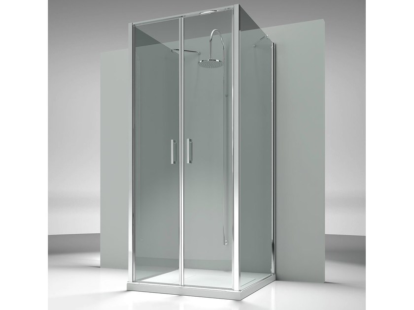 Rectangular custom tempered glass shower cabin LINEA LG+LB+LG by VISMARAVETRO