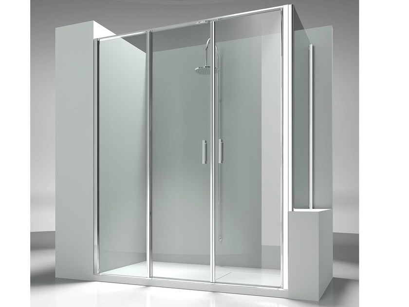 Custom tempered glass shower wall panel LINEA L3+LP by VISMARAVETRO