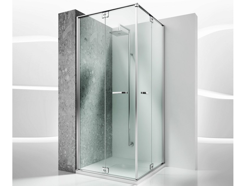 Corner custom tempered glass shower cabin REPLAY RA+RA - VISMARAVETRO