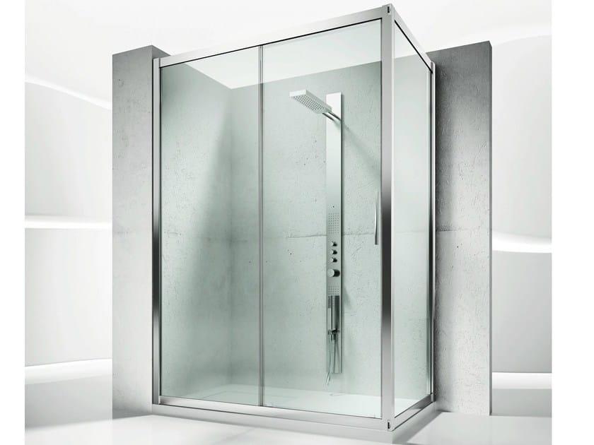 Box doccia angolare su misura in cristallo con porte scorrevoli serie 6000 6100 6300 by - Box doccia su misura milano ...