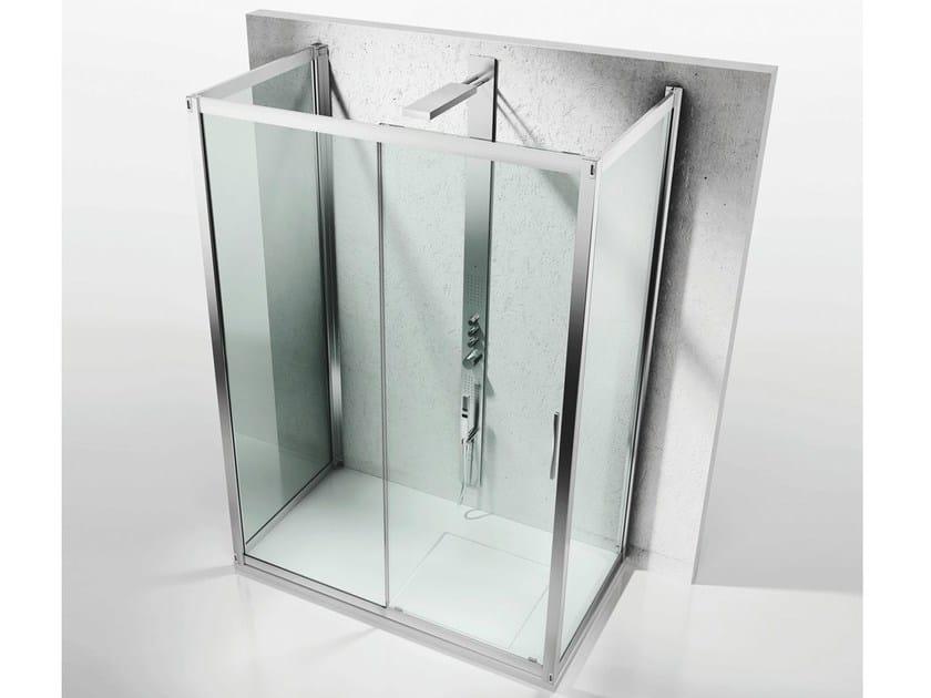 Custom crystal shower cabin with sliding door SERIE 6000: 6300+6100+6300 by VISMARAVETRO