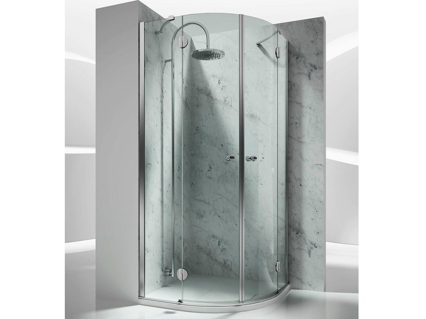 Corner semicircular custom glass shower cabin SINTESI SH - VISMARAVETRO