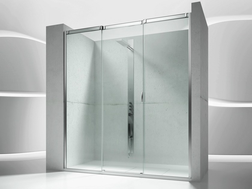 Niche tempered glass shower cabin with sliding door SLIDE V3 - VISMARAVETRO
