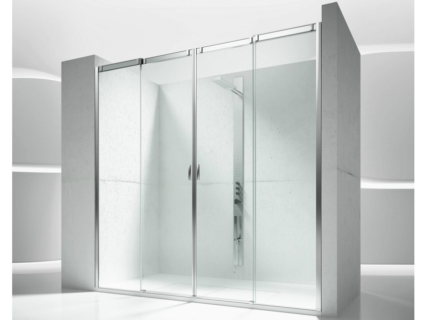 Niche tempered glass shower cabin with sliding door SLIDE V4 - VISMARAVETRO
