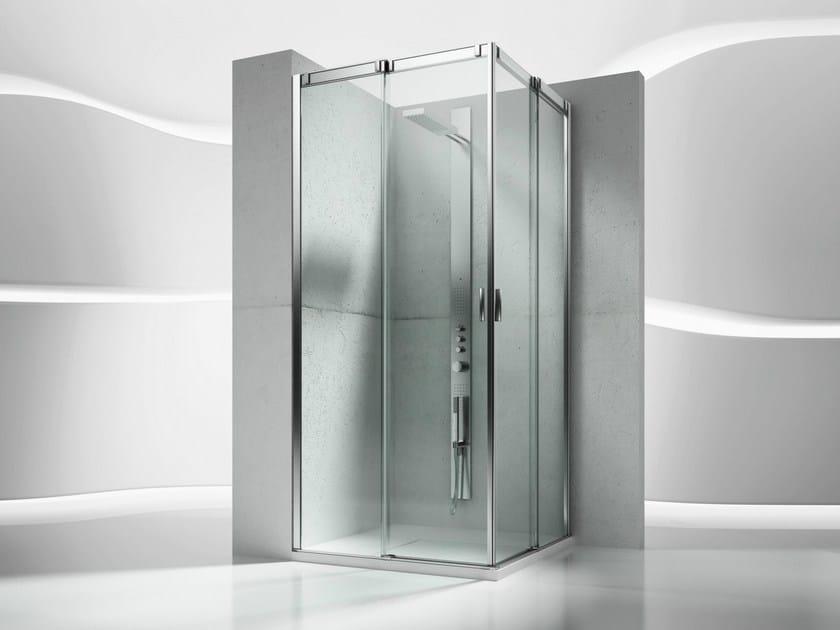 Corner tempered glass shower cabin with sliding door SLIDE VA+VA by VISMARAVETRO