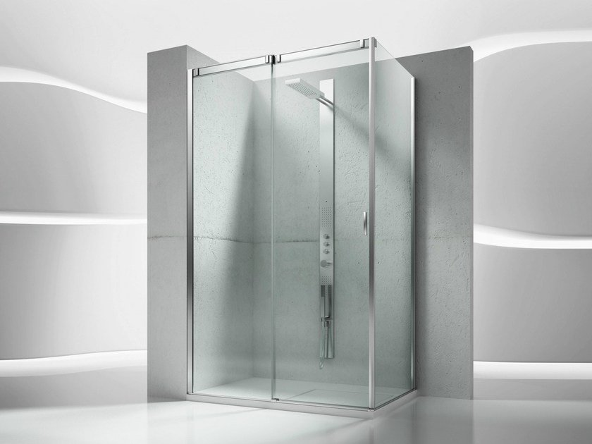 Corner tempered glass shower cabin with sliding door SLIDE VQ+VF - VISMARAVETRO