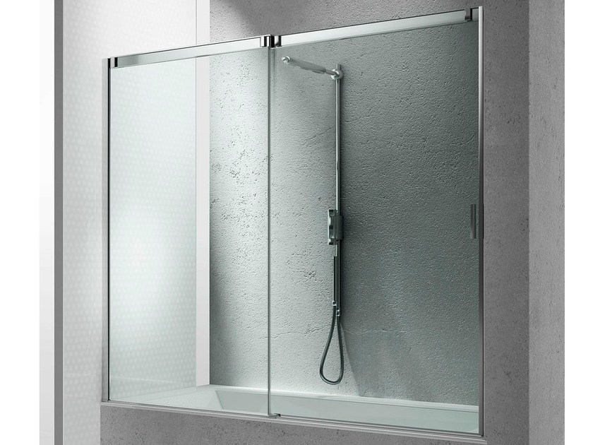 Tempered glass bathtub wall panel SLIDE BN - VISMARAVETRO
