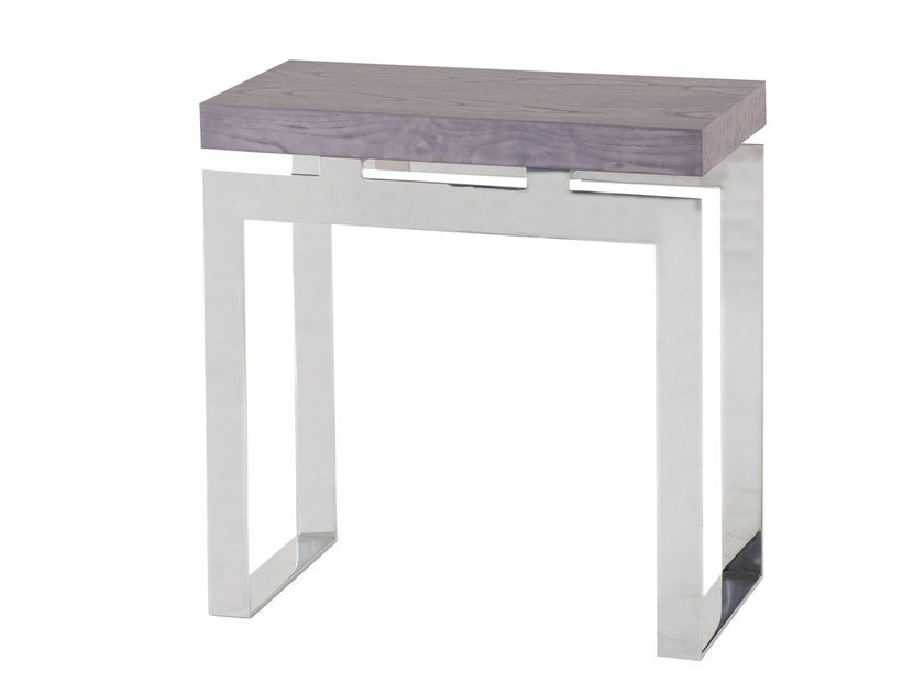 Rectangular stainless steel and wood console table YBO - AZEA