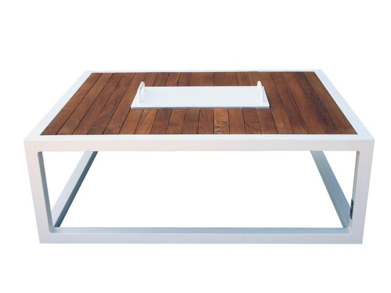 Aluminium and wood garden side table BRAZILIA | Garden side table - Sérénité Luxury Monaco