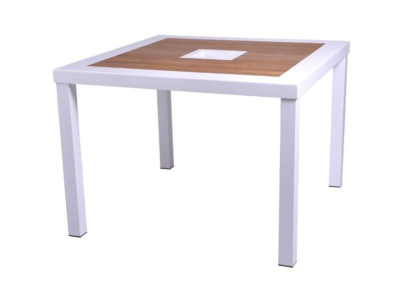 Square aluminium and wood garden table BRAZILIA | Square table - Sérénité Luxury Monaco