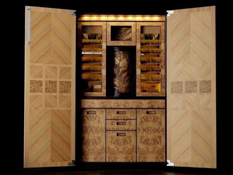 pannelli in legno intarsiato : Mobile bar in legno intarsiato per sigari COLONNA SIGARI - TONCELLI ...