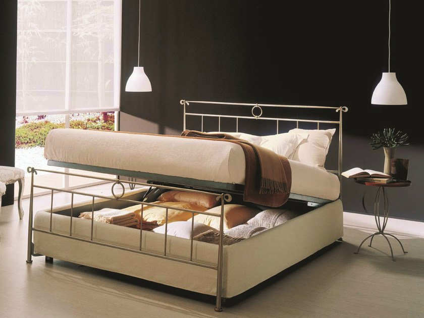 Iron double bed DYLAN | Storage bed - Bontempi Casa