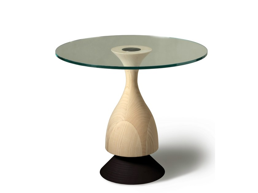 Round wood and glass coffee table D'ARTAGNAN - Morelato