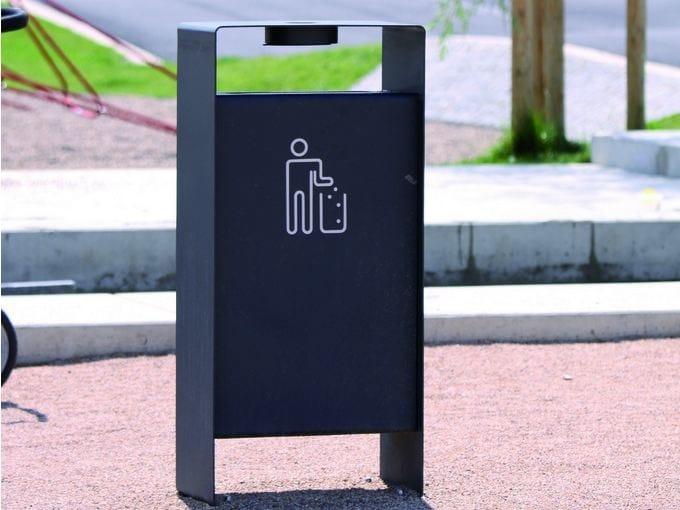 Outdoor steel waste bin with ashtray RADIUM | Waste bin - mmcité 1
