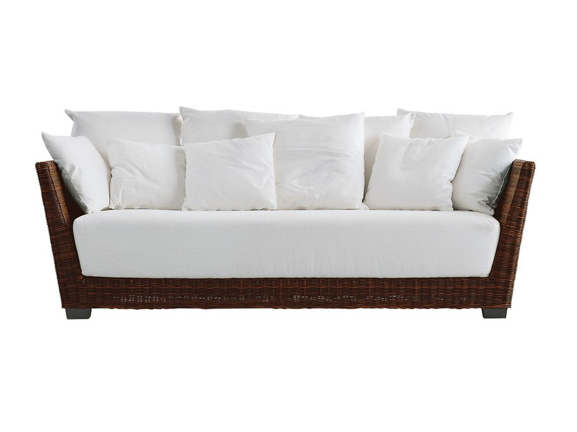 3 seater sofa in handwoven black pulut BLACK 03 - Gervasoni