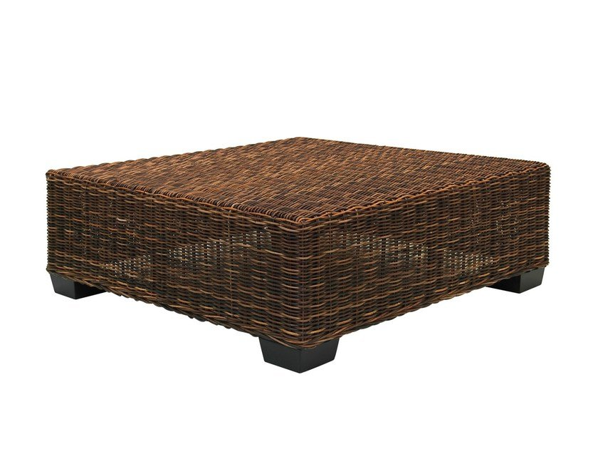 Low Square side table in handwoven black pulut BLACK 14 by Gervasoni
