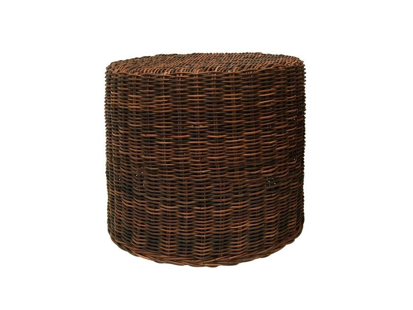 Round garden side table in handwoven black pulut BLACK 13 by Gervasoni