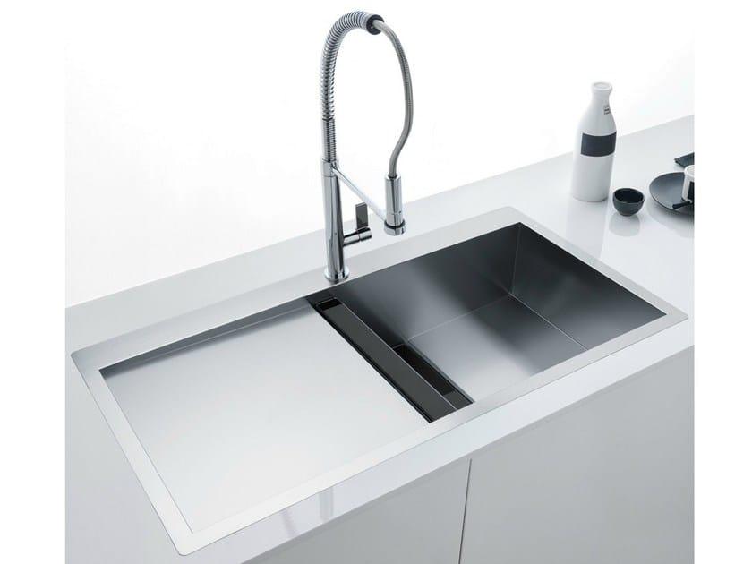 Lavello a una vasca filo top in acciaio inox e cristallo con sgocciolatoio clv 214 franke - Top cucina acciaio inox prezzo ...
