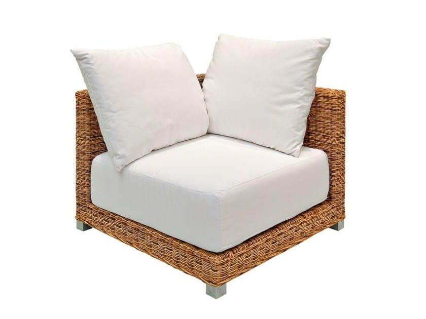Corner garden armchair in handwoven dark pulut NET 06 AN - Gervasoni