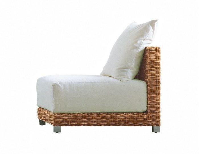 Modular garden armchair in handwoven dark pulut NET 06 - Gervasoni