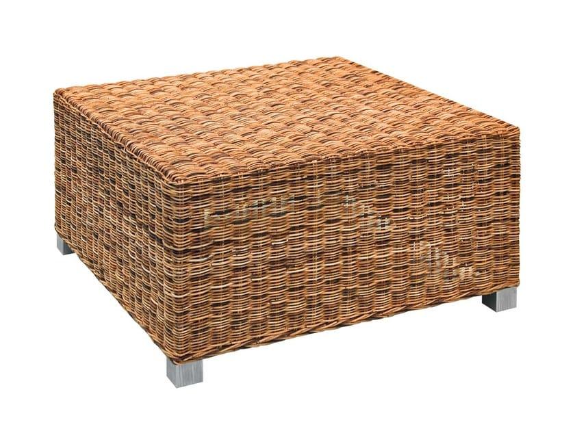 Square garden side table in handwoven dark pulut NET 13 - Gervasoni