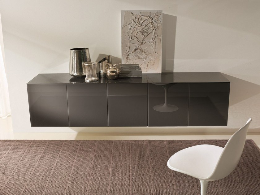 Wood and glass sideboard ALY GLASS | Suspended sideboard by Bontempi Casa