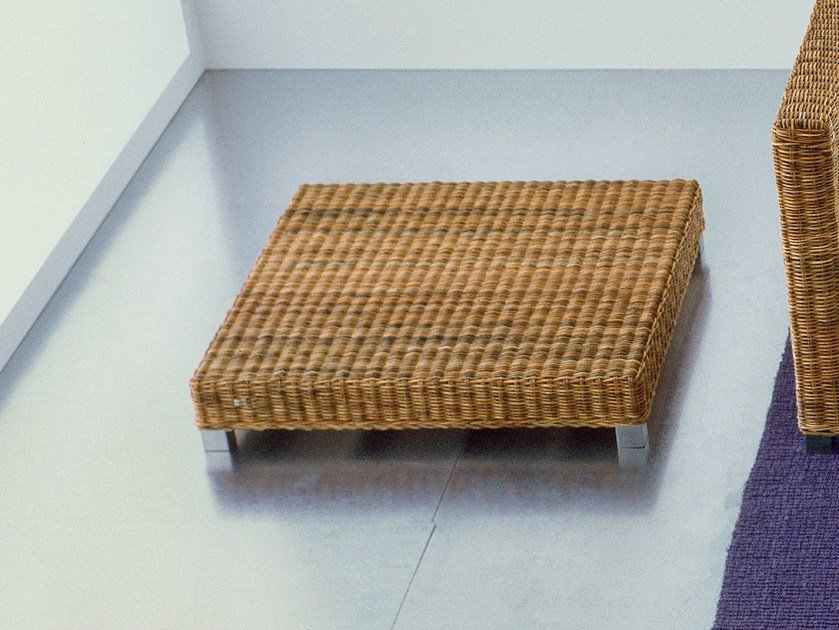 Low square handwoven dark pulut coffee table NET 11 - Gervasoni