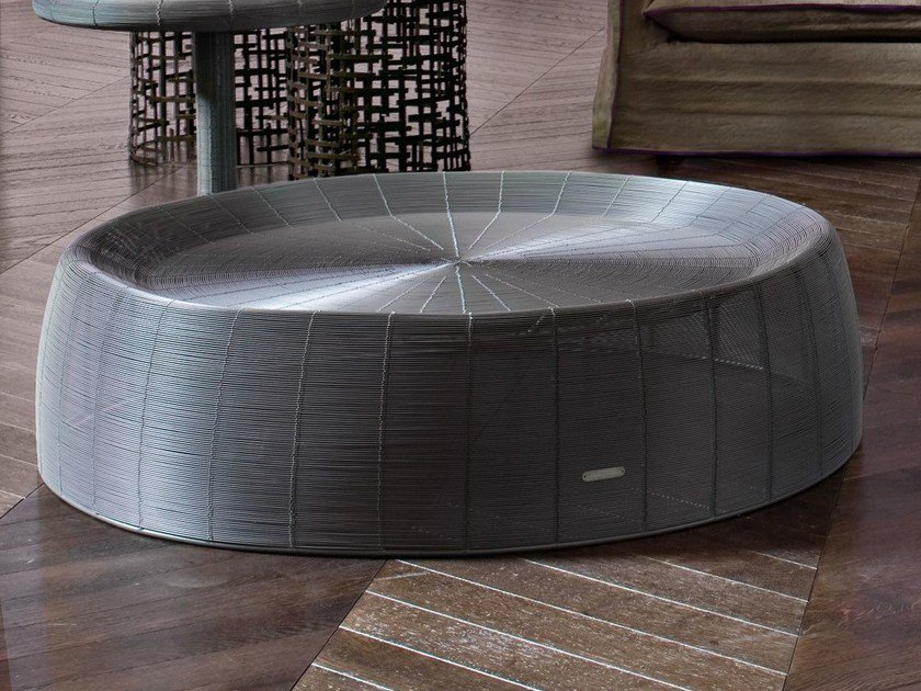Round iron coffee table in handwoven iron wire FILO 01 - Gervasoni