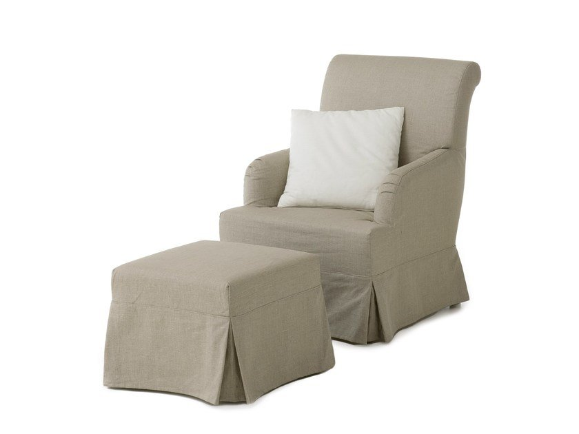 Upholstered armchair with footstool DOVER - Minacciolo