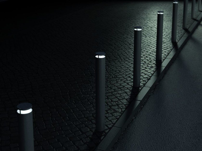 Fixed steel bollard post with built-in light DONAT | Bollard with built-in light by mmcité1