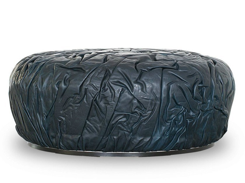 Leather pouf STROMBOLI | Pouf - BAXTER