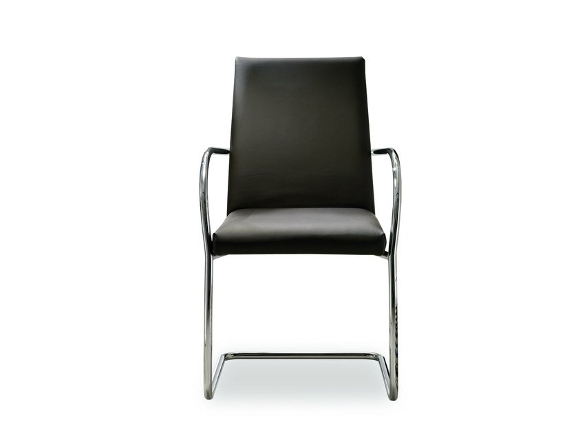 Cantilever upholstered leather chair ESTA | Chair with armrests by Bontempi Casa