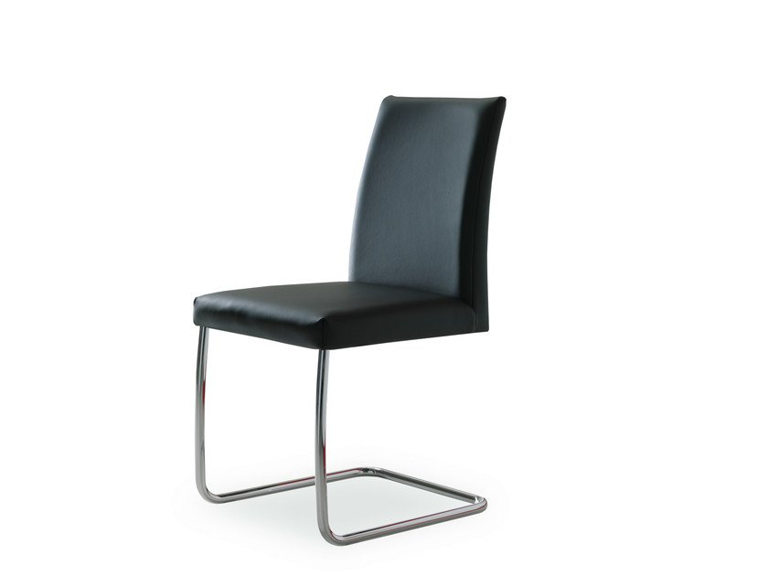 Cantilever upholstered leather chair ESTA | Cantilever chair - Bontempi Casa