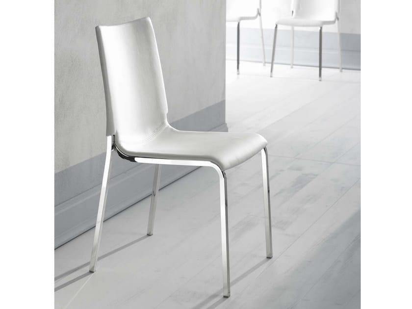 Upholstered imitation leather chair EVA | Upholstered chair - Bontempi Casa