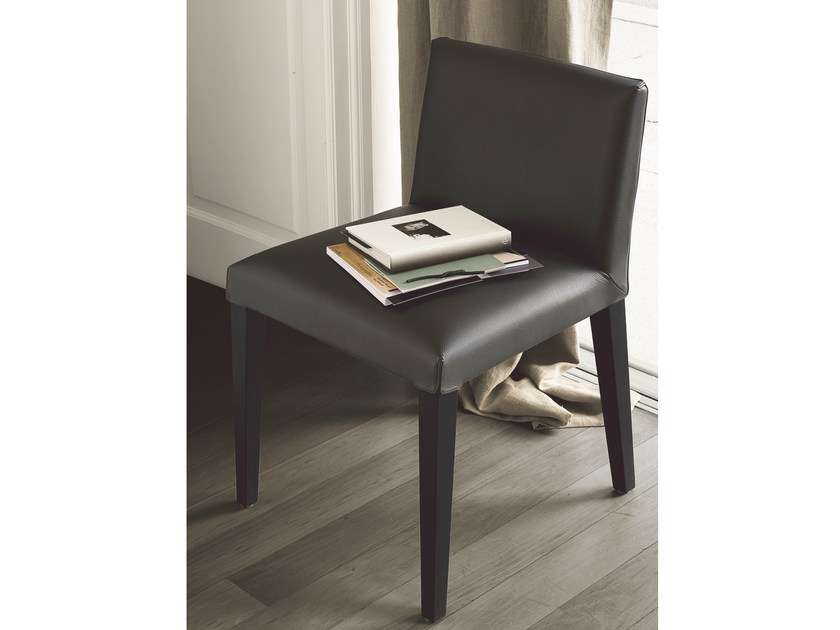 Upholstered leather chair VELVET | Chair - Poliform