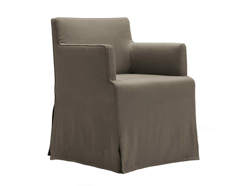 Upholstered fabric chair with armrests VELVET DUE | Chair with armrests - Poliform