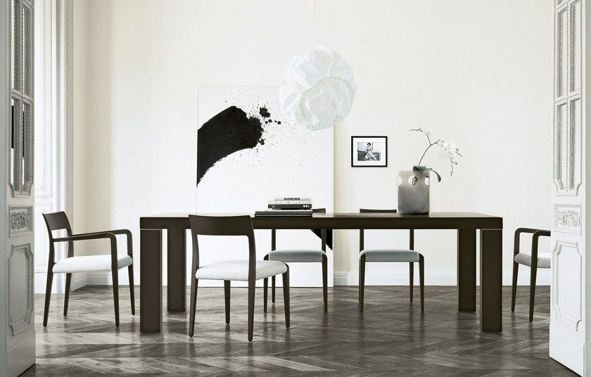 Extending rectangular wood veneer table MASTER DUE - Poliform