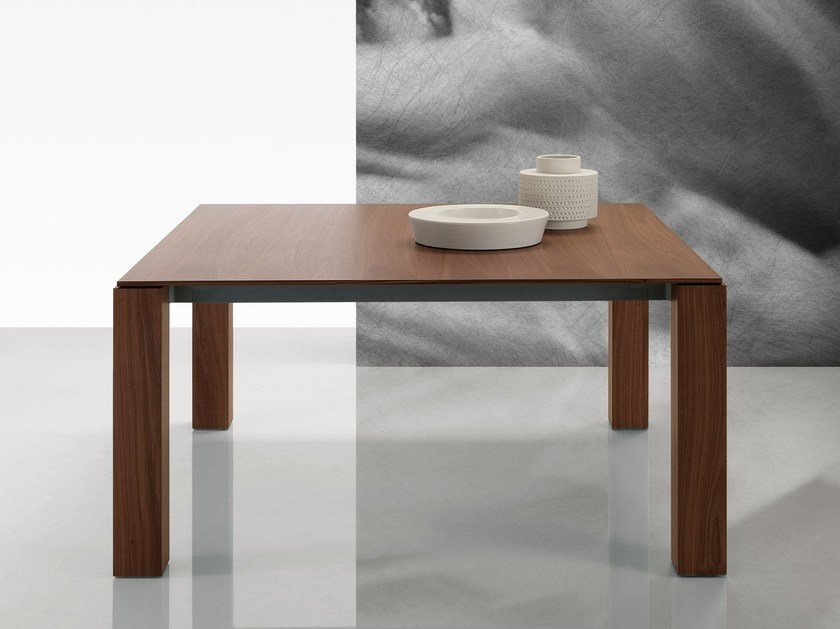 Square wood veneer table DOLMEN DUE | Square table - Poliform