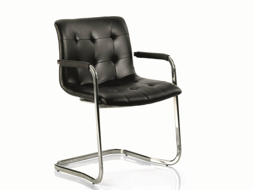 Cantilever upholstered leather chair KUGA | Chair with armrests - Bontempi Casa