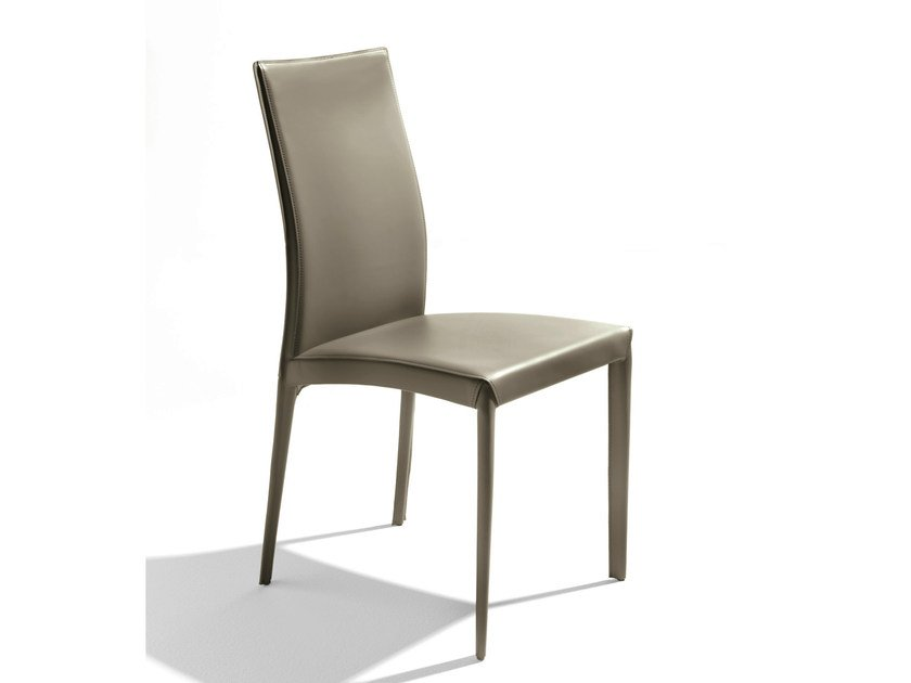 Upholstered tanned leather chair KEFIR - Bontempi Casa