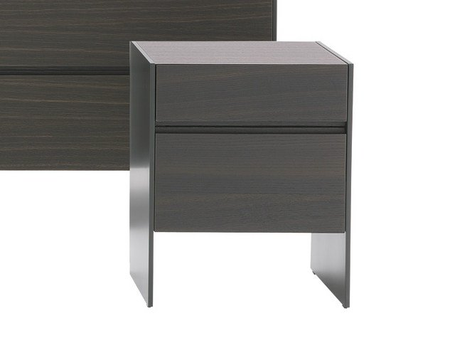 Lacquered Wooden Bedside Table With Drawers Square