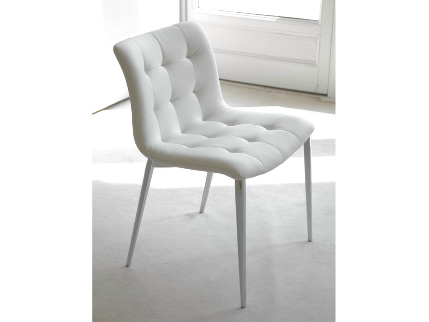 Upholstered leather chair KUGA   Leather chair - Bontempi Casa