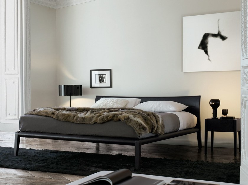Walnut double bed MEMO 2 | Walnut bed - Poliform