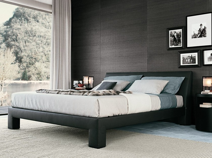 Leather double bed TEO | Double bed - Poliform