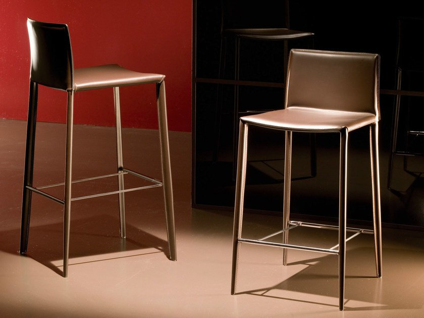 Leather counter stool with footrest LINDA | Counter stool - Bontempi Casa