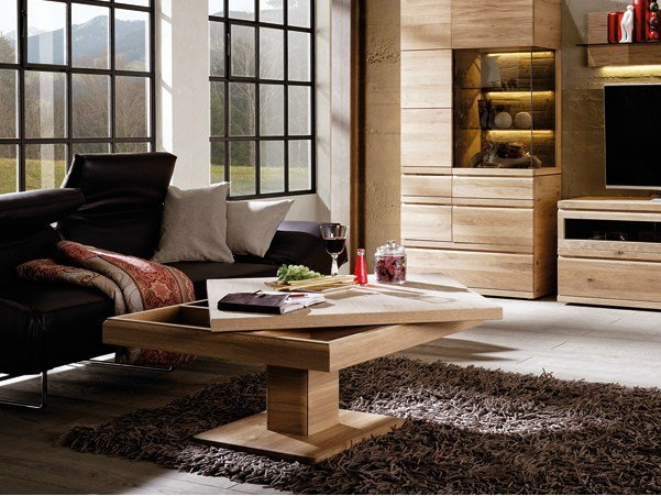 table basse r glable en hauteur carr e en bois collection. Black Bedroom Furniture Sets. Home Design Ideas