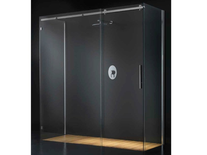 Rectangular glass shower cabin with tray with sliding door ELITE G14 - RARE
