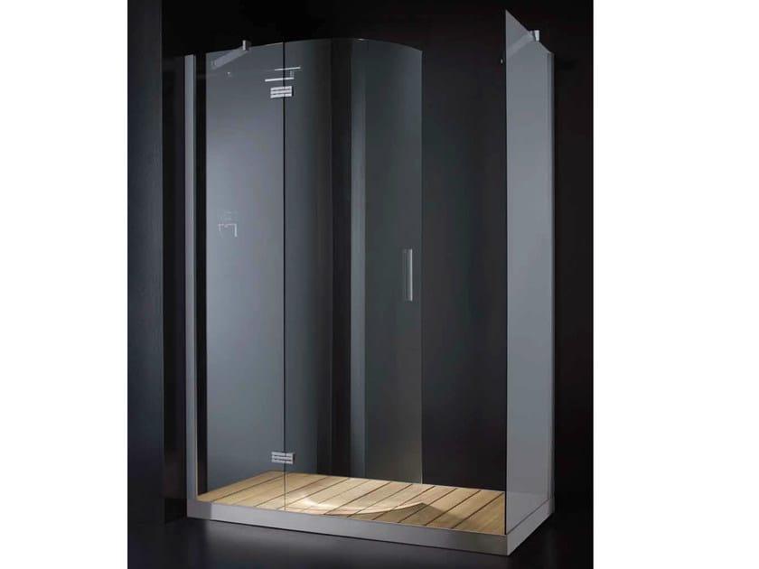 Box doccia rettangolare in vetro con porte a battente con piatto ...